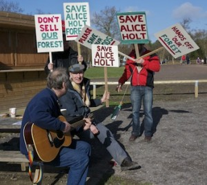 Protesters at Alice Holt Save Our Forests Protest